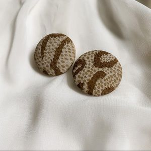 VTG Neutral Taupe Brown Abstract Round Earrings